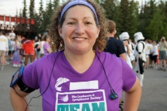 Andrea at the end of the 2011 Midnight Sun Run